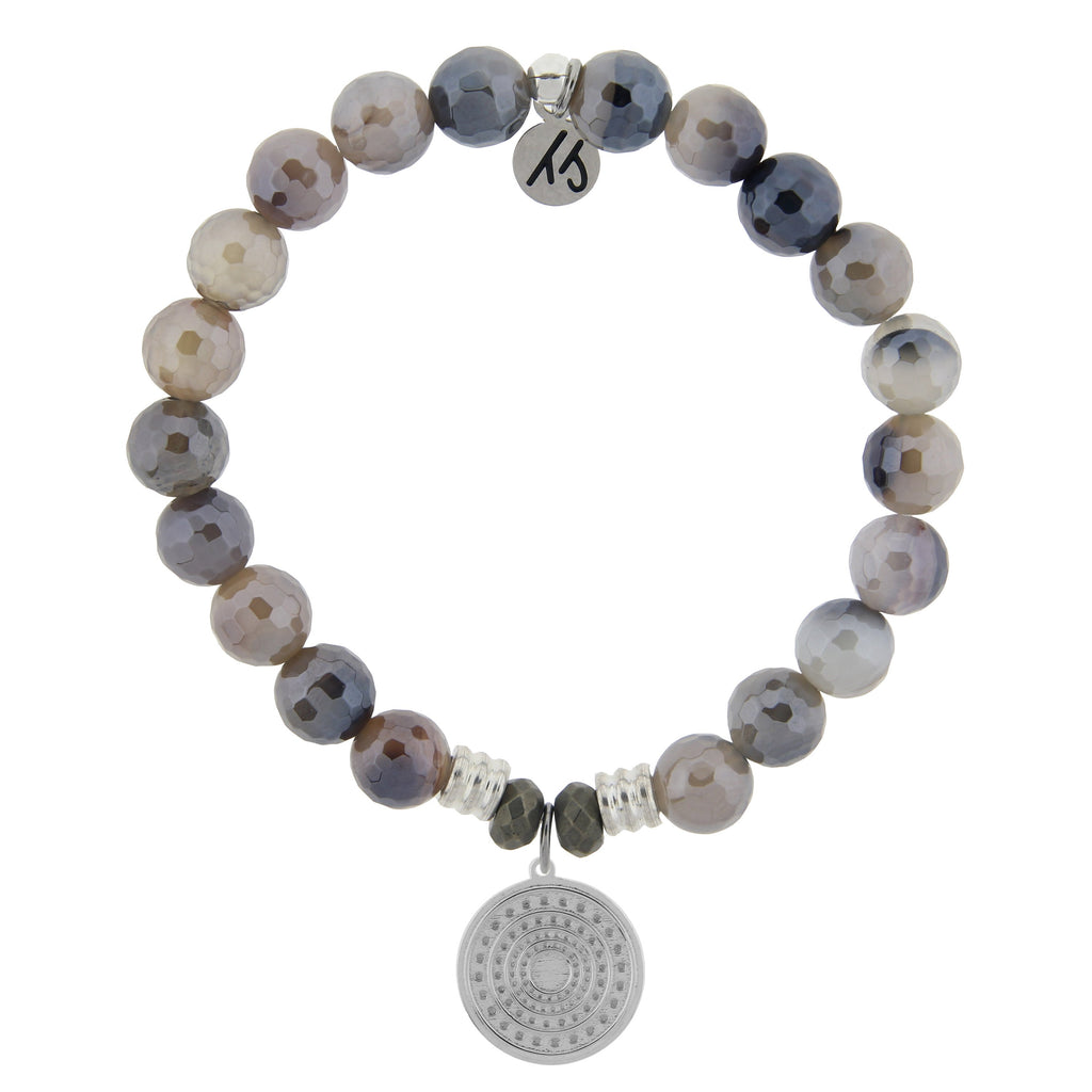 Storm Agate Stone Bracelet with Family Circle Sterling Silver Charm