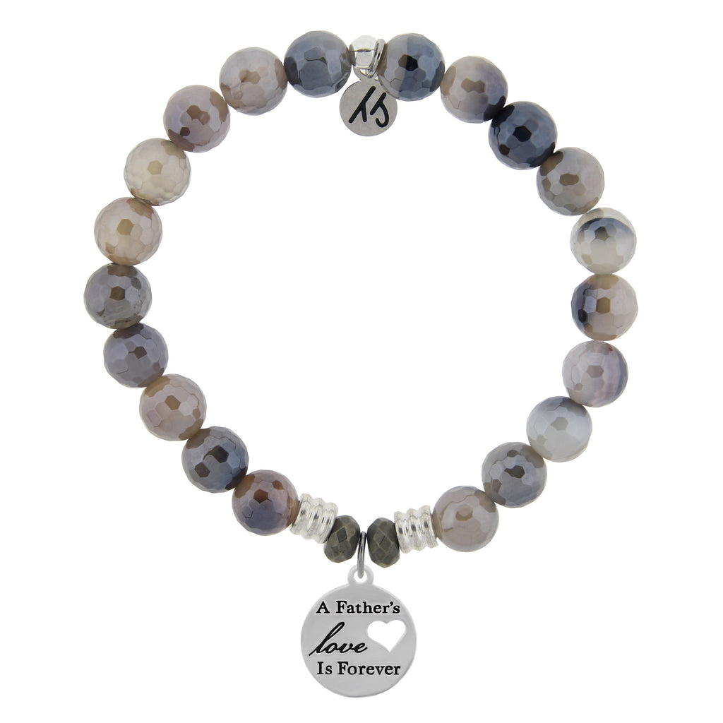 Storm Agate Stone Bracelet with Fathers Love Sterling Silver Charm