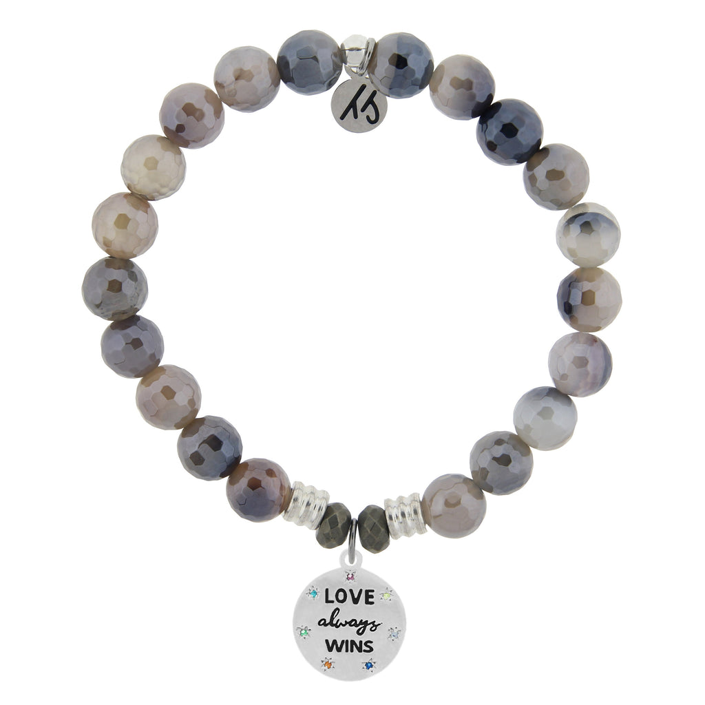 Storm Agate Stone Bracelet with Love Always Wins Sterling Silver Charm