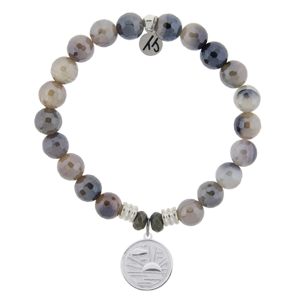 Storm Agate Stone Bracelet with New Day Sterling Silver Charm