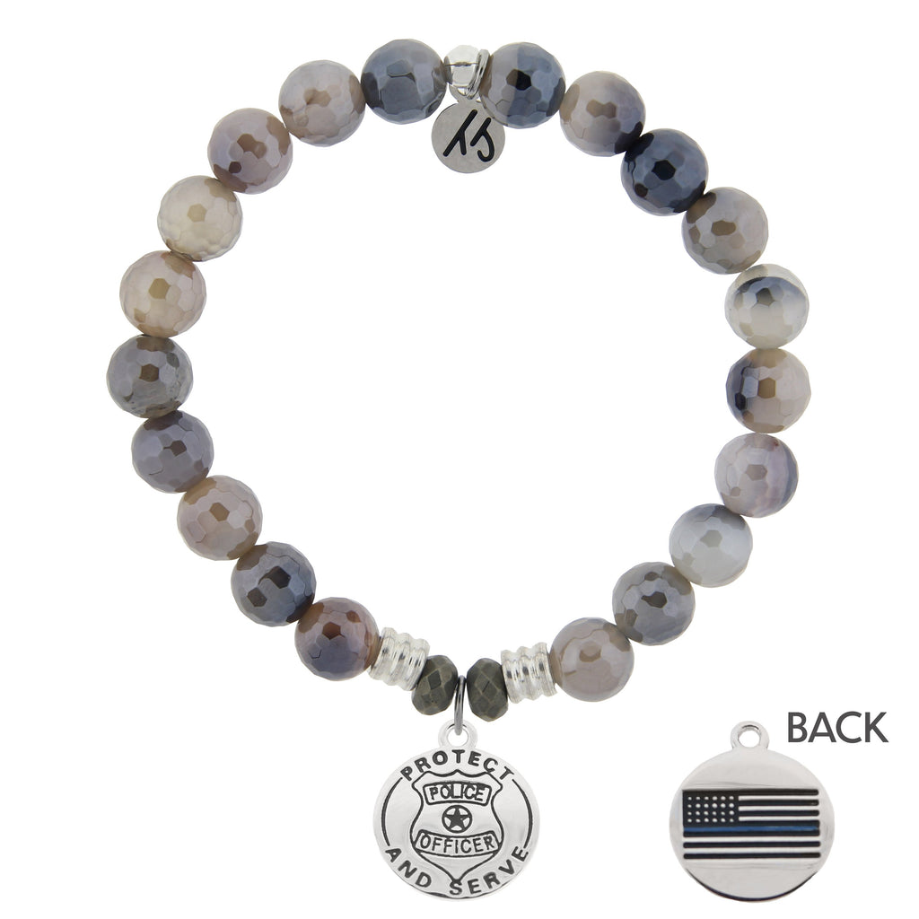 Storm Agate Stone Bracelet with Police Sterling Silver Charm