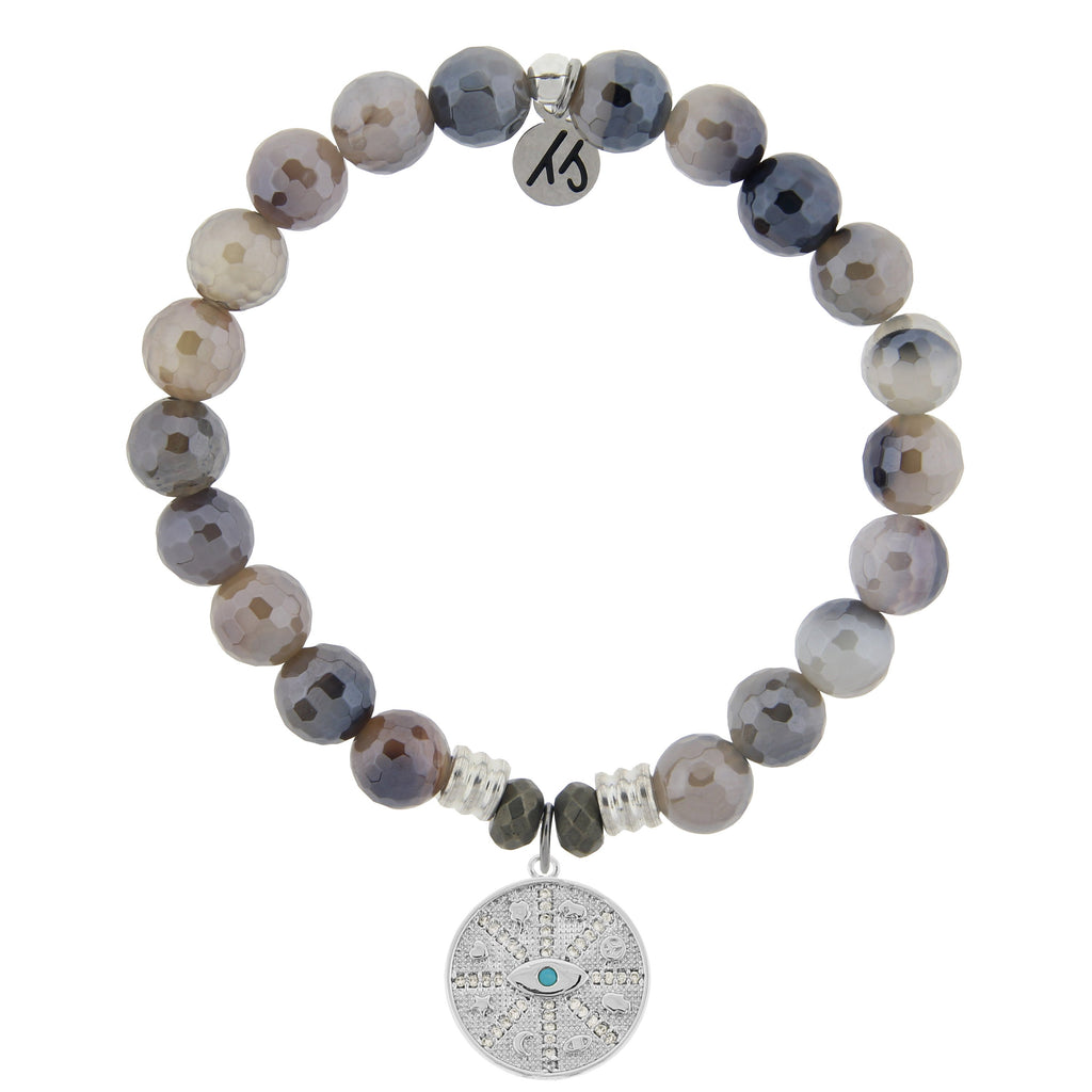 Storm Agate Stone Bracelet with Protection Sterling Silver Charm