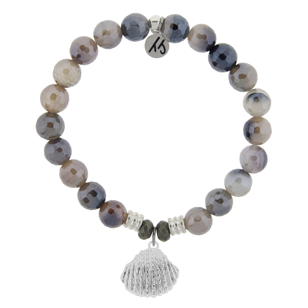 Storm Agate Stone Bracelet with Seashell Sterling Silver Charm