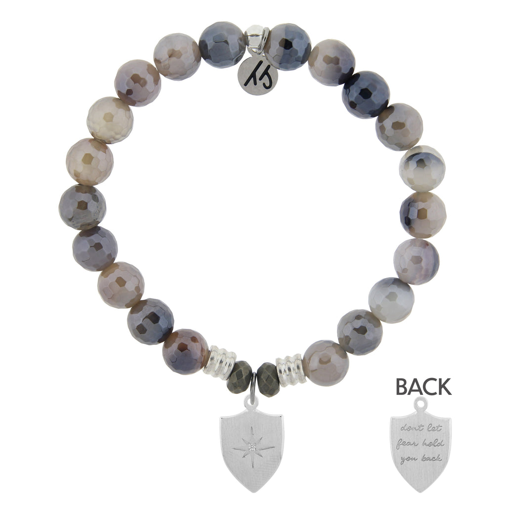 Storm Agate Stone Bracelet with Shield of Strength Sterling Silver Charm
