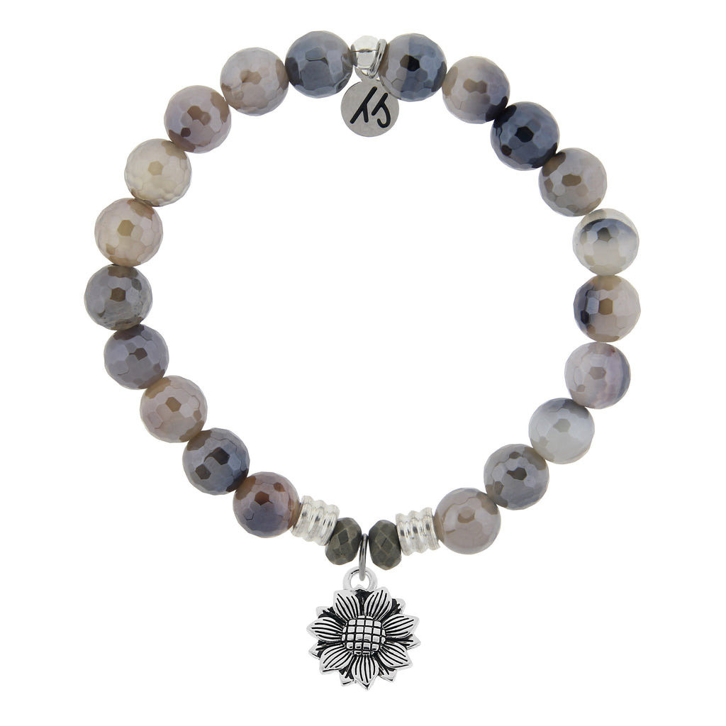 Storm Agate Stone Bracelet with Sunflower Sterling Silver Charm