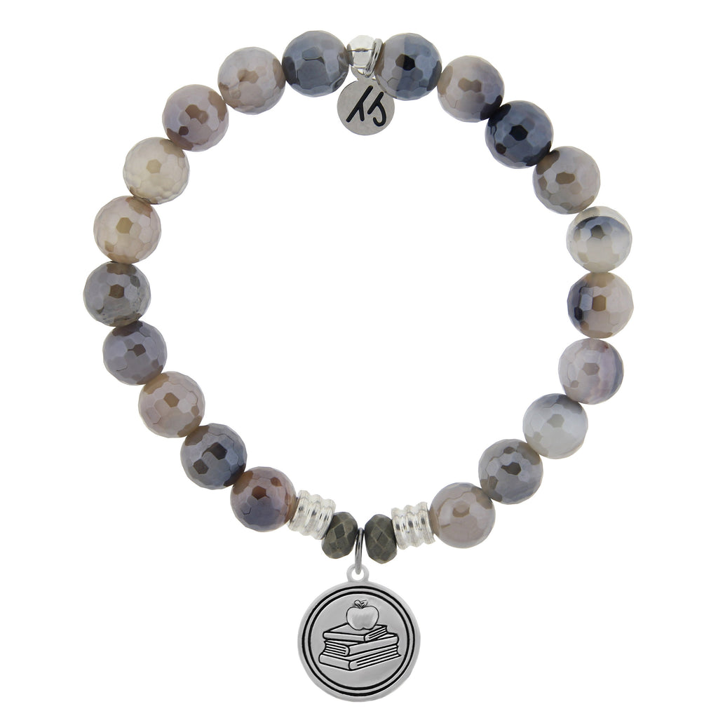 Storm Agate Stone Bracelet with Teacher Sterling Silver Charm