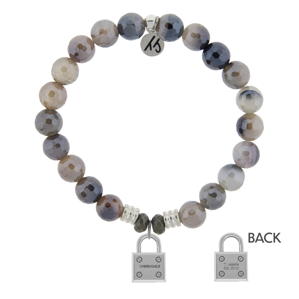 Storm Agate Stone Bracelet with Unbreakable Sterling Silver Charm