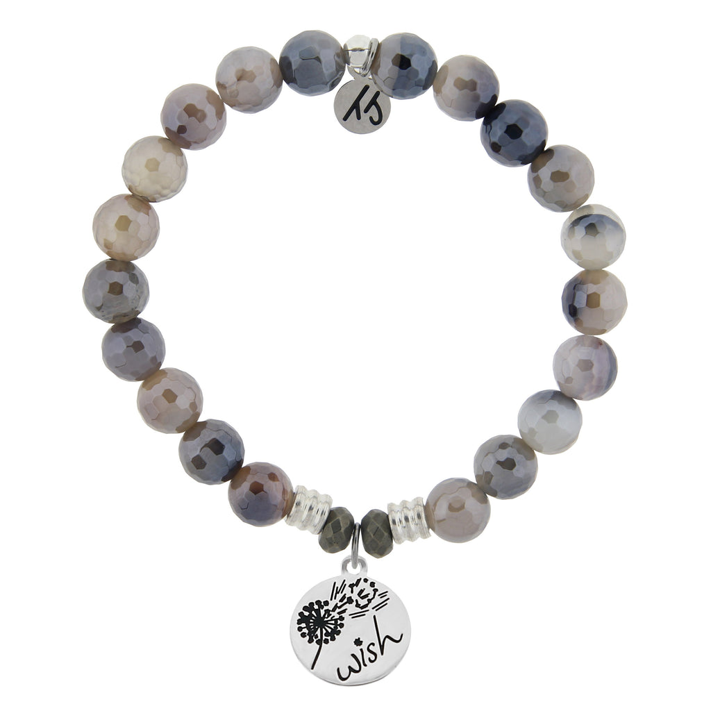 Storm Agate Stone Bracelet with Wish Sterling Silver Charm