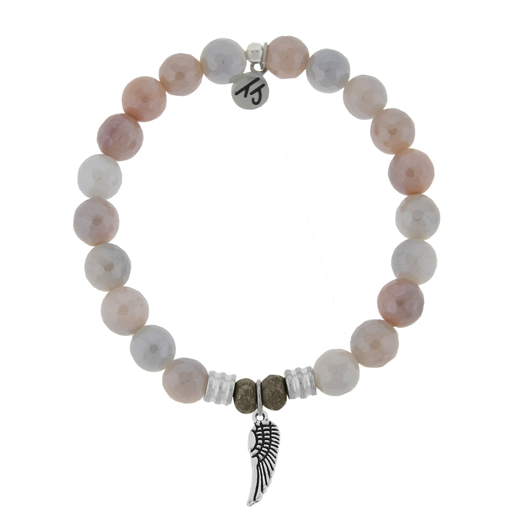 Sunstone Stone Bracelet with Angel Wing Sterling Silver Charm
