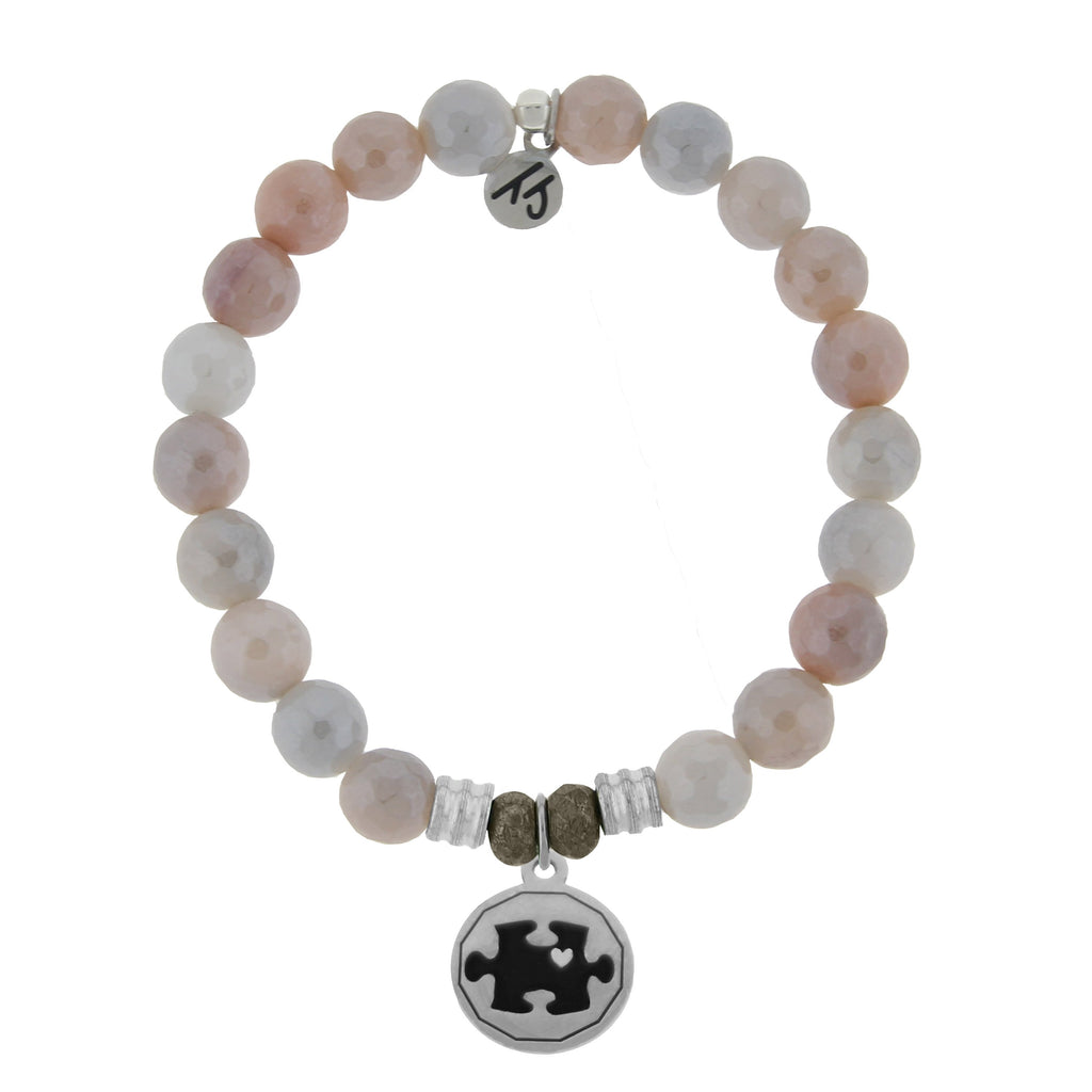 Sunstone Stone Bracelet with Autism Awareness Sterling Silver Charm
