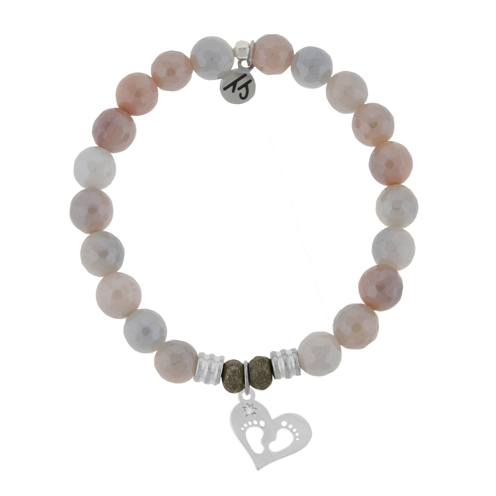 Sunstone Stone Bracelet with Baby Feet Sterling Silver Charm