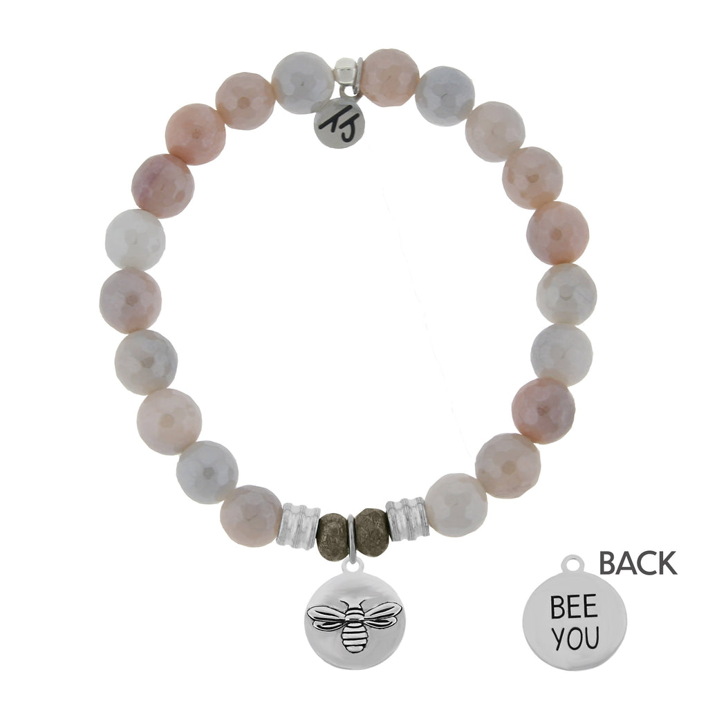 Sunstone Stone Bracelet with Bee You Sterling Silver Charm