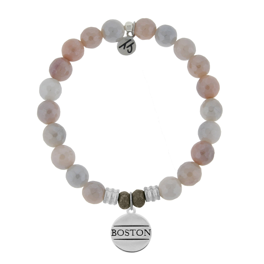 Sunstone Stone Bracelet with Boston Sterling Silver Charm