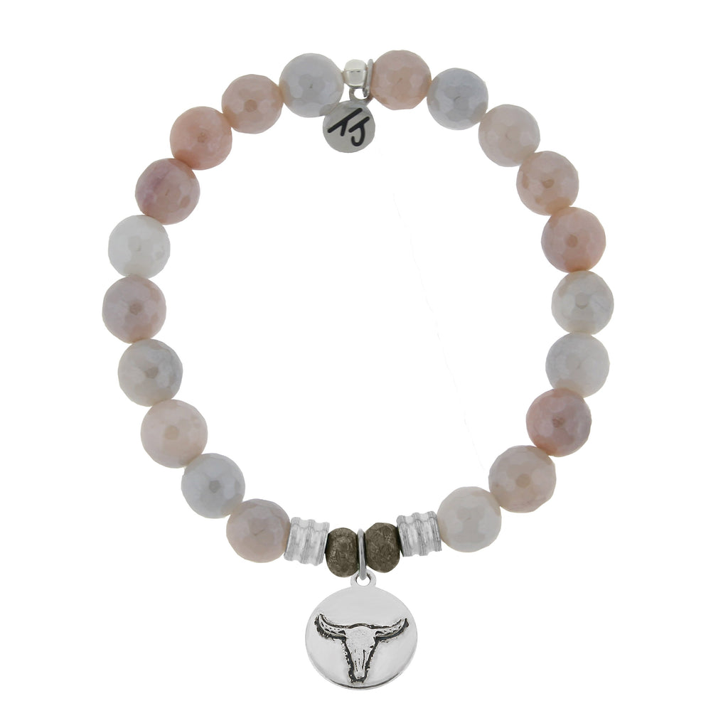 Sunstone Stone Bracelet with Bull Sterling Silver Charm