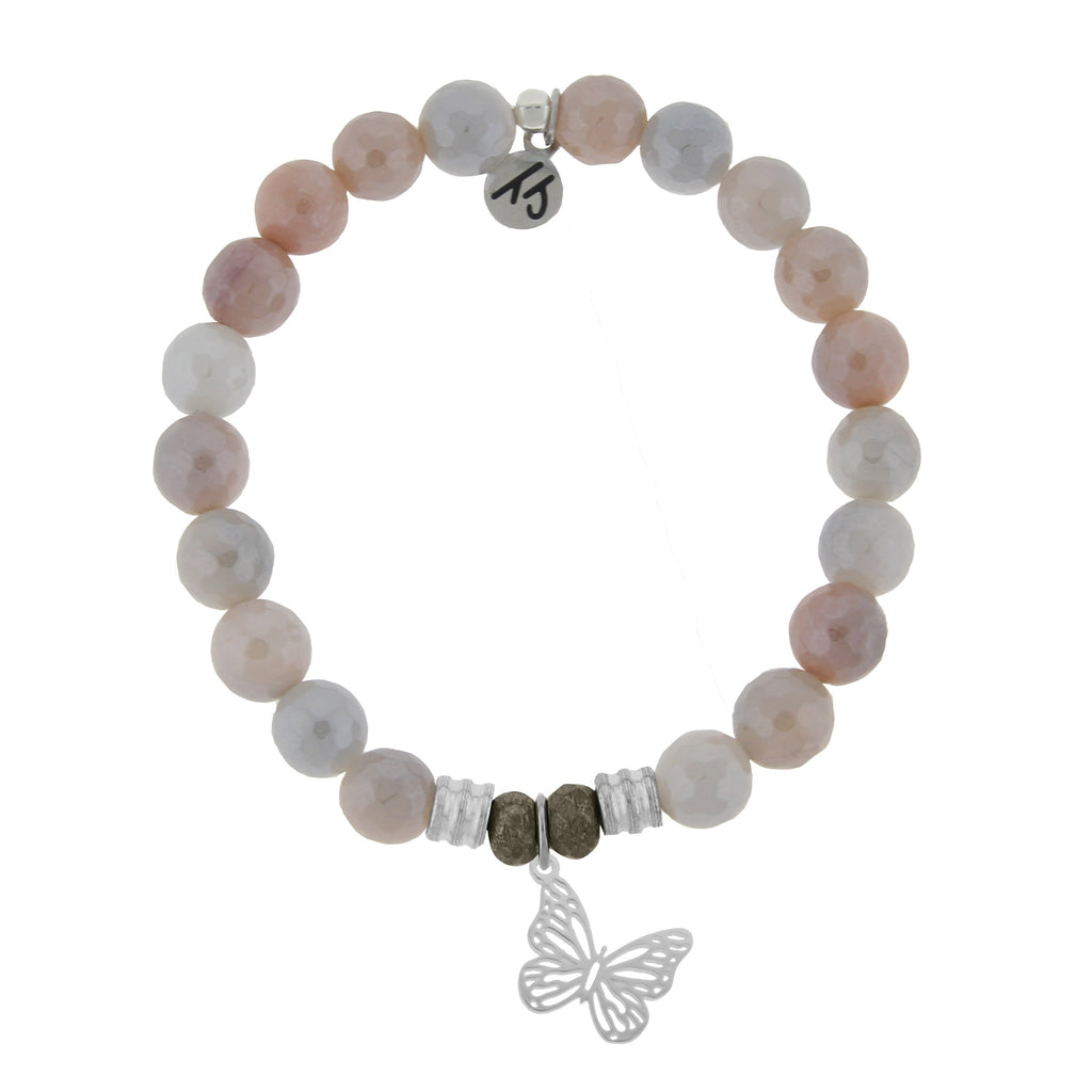 Sunstone Stone Bracelet with Butterfly Sterling Silver Charm