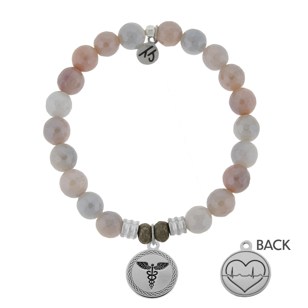 Sunstone Stone Bracelet with Caduceus Sterling Silver Charm