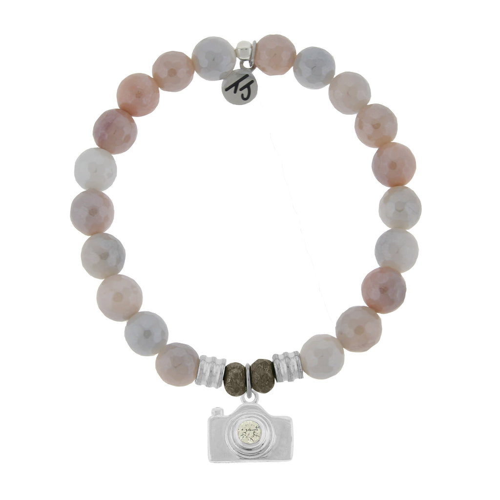 Sunstone Stone Bracelet with Camera Sterling Silver Charm