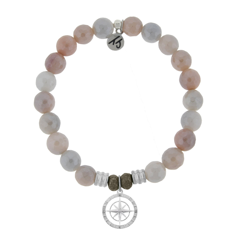 Sunstone Stone Bracelet with Compass Rose Sterling Silver Charm