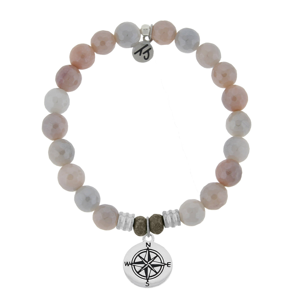 Sunstone Stone Bracelet with Compass Sterling Silver Charm