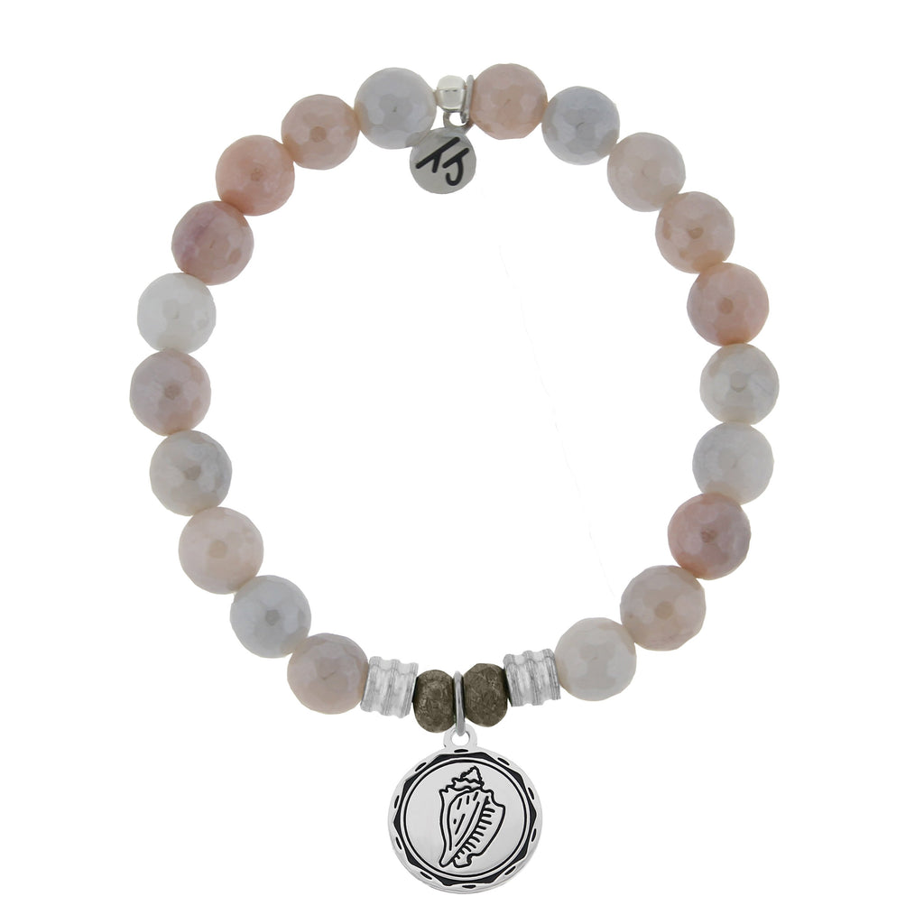 Sunstone Stone Bracelet with Conch Shell Sterling Silver Charm