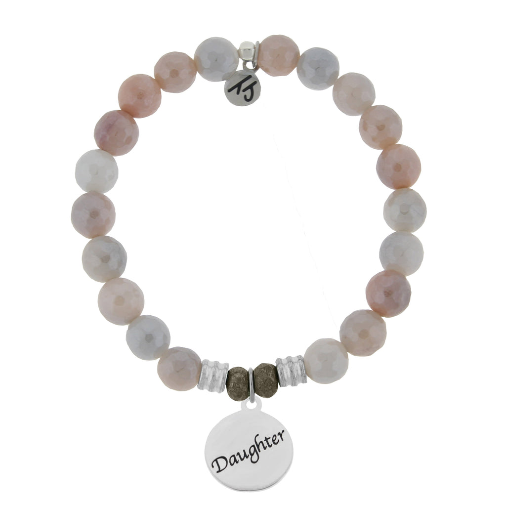 Sunstone Stone Bracelet with Daughter Endless Love Sterling Silver Charm
