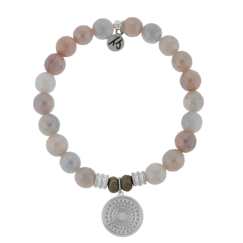 Sunstone Stone Bracelet with Family Circle Sterling Silver Charm