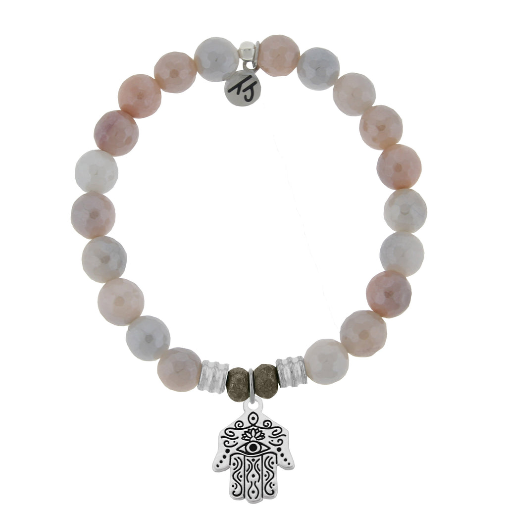 Sunstone Stone Bracelet with Hand of God Sterling Silver Charm