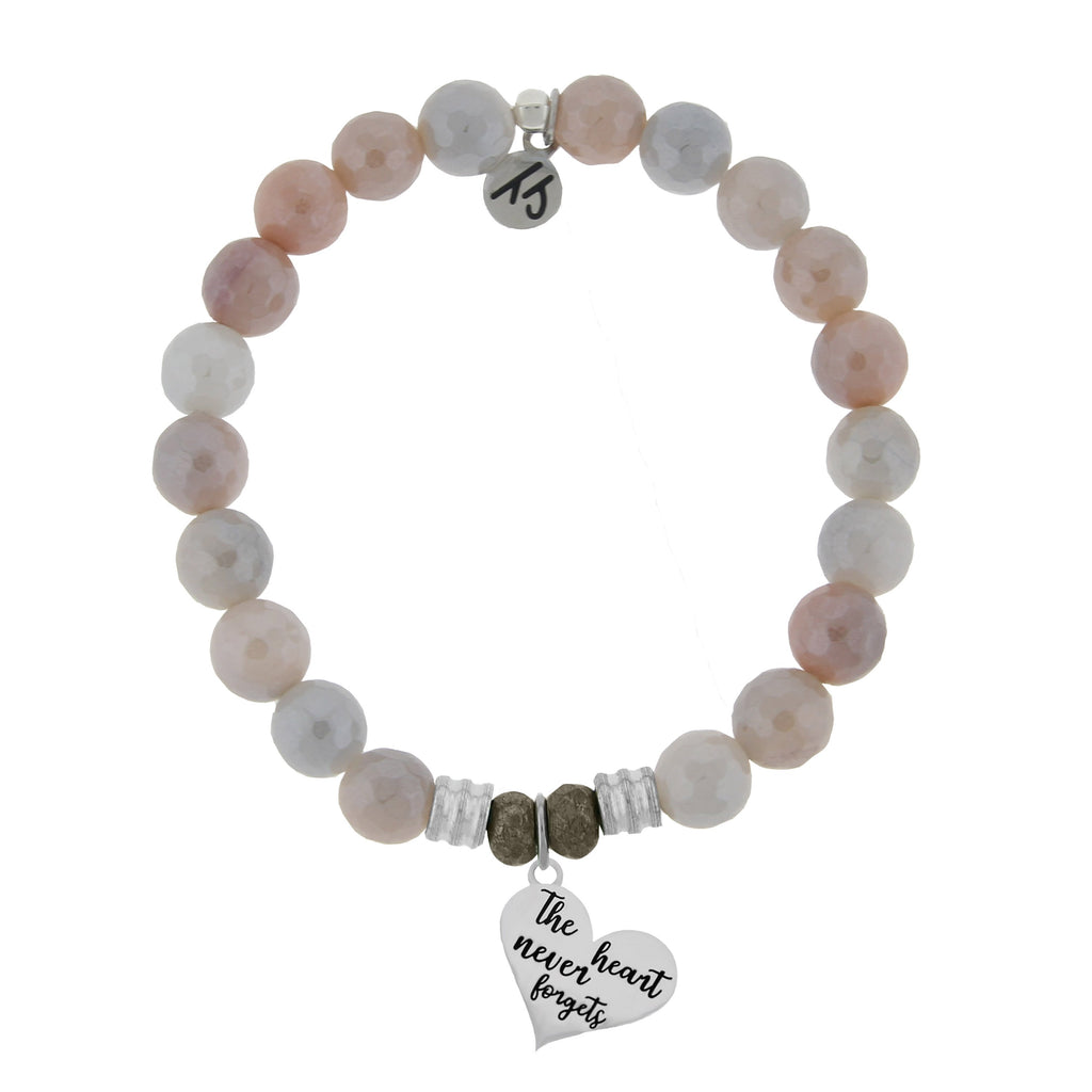 Sunstone Stone Bracelet with Heart Never Forgets Sterling Silver Charm