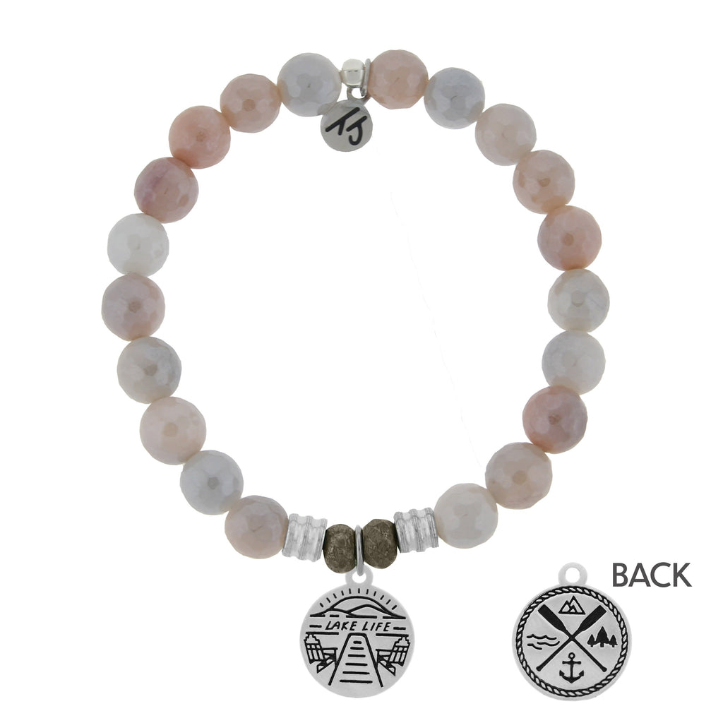 Sunstone Stone Bracelet with Lake Life Sterling Silver Charm