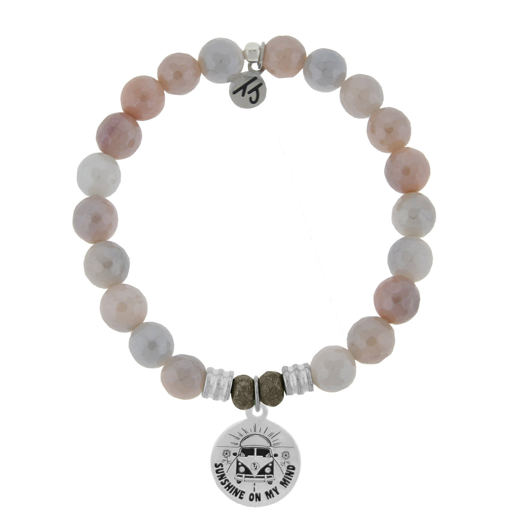 Sunstone Stone Bracelet with Life's a Journey Sterling Silver Charm