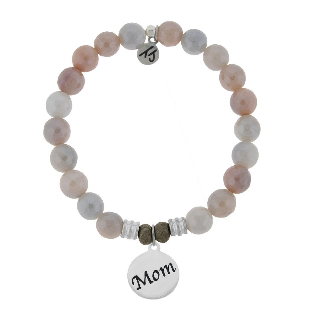 Sunstone Stone Bracelet with Mom Endless Love Sterling Silver Charm