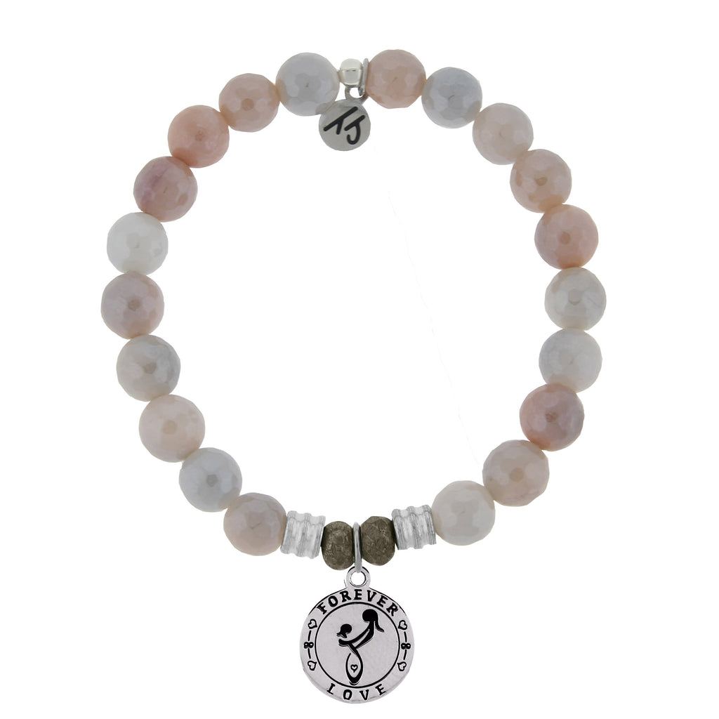 Sunstone Stone Bracelet with Mother's Love Sterling Silver Charm
