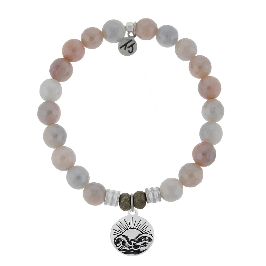 Sunstone Stone Bracelet with Rising Sun Sterling Silver Charm