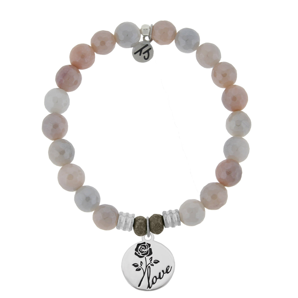 Sunstone Stone Bracelet with Rose Sterling Silver Charm