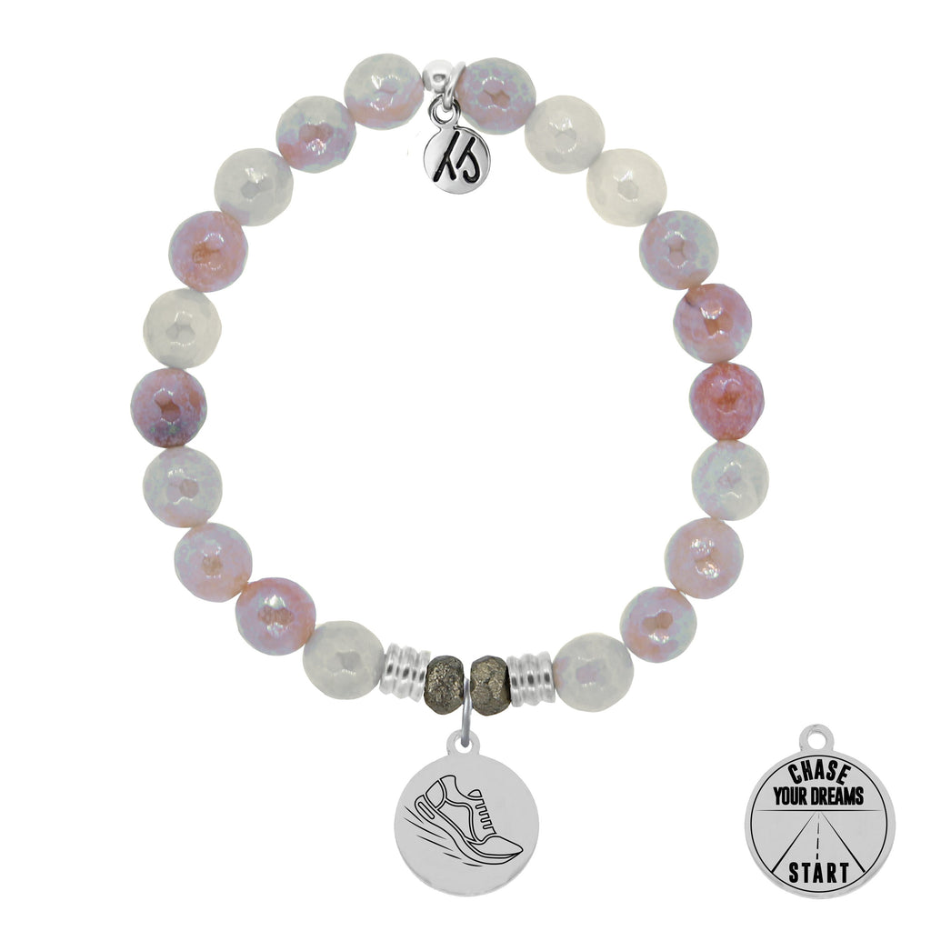 Sunstone Stone Bracelet with Run Your Own Race Sterling Silver Charm