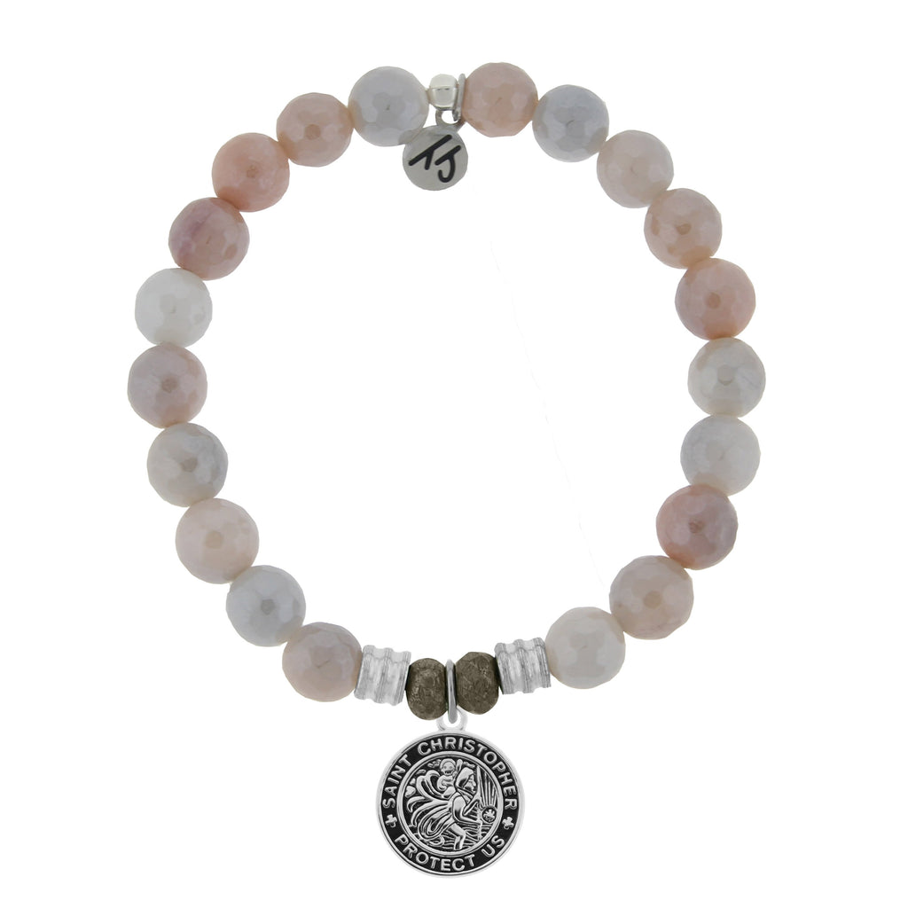 Sunstone Stone Bracelet with Saint Christopher Sterling Silver Charm