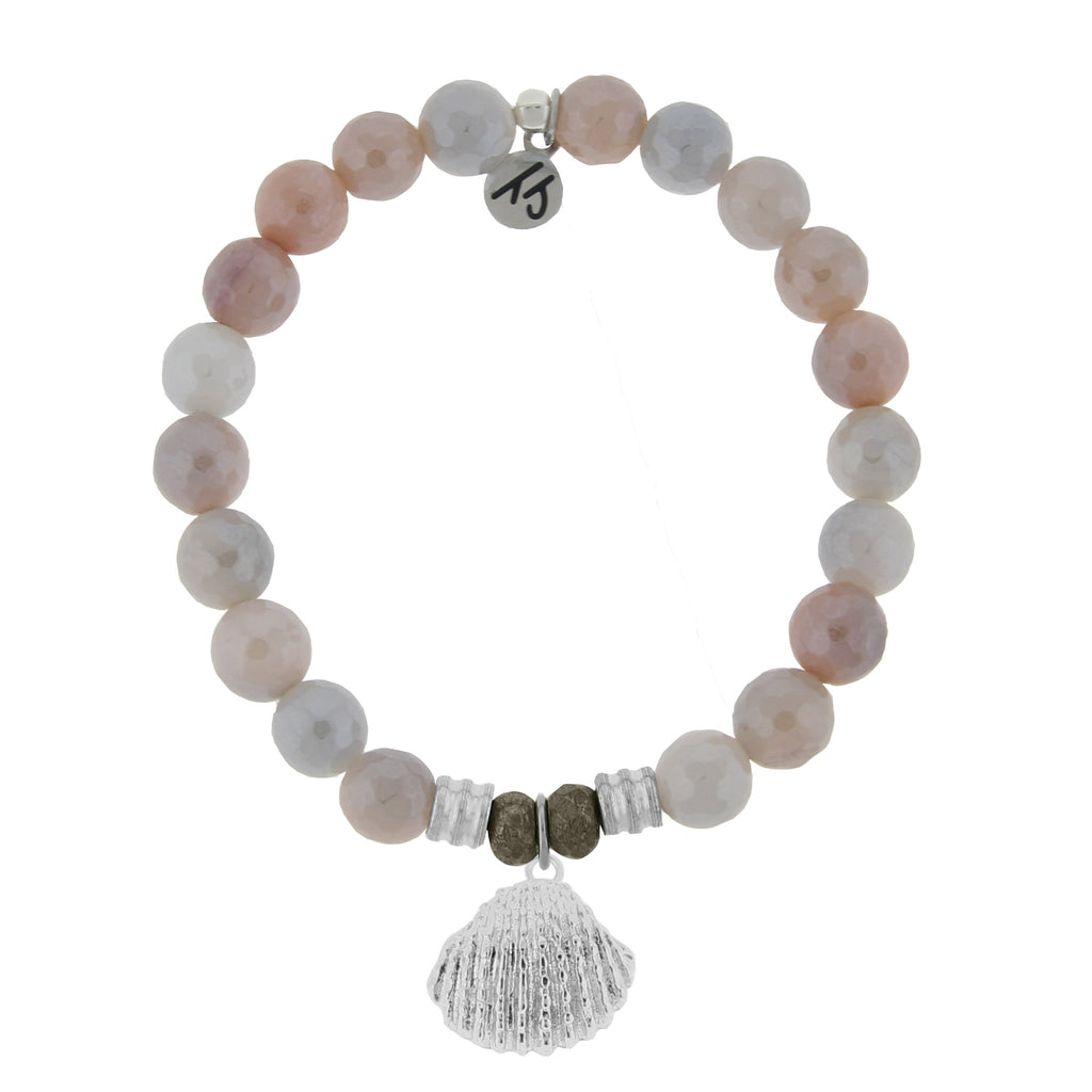 Sunstone Stone Bracelet with Seashell Sterling Silver Charm