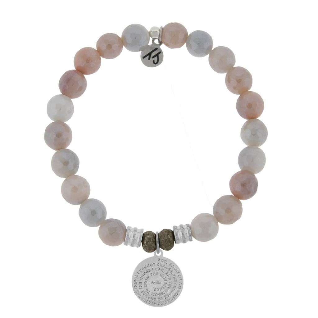 Sunstone Stone Bracelet with Serenity Prayer Sterling Silver Charm
