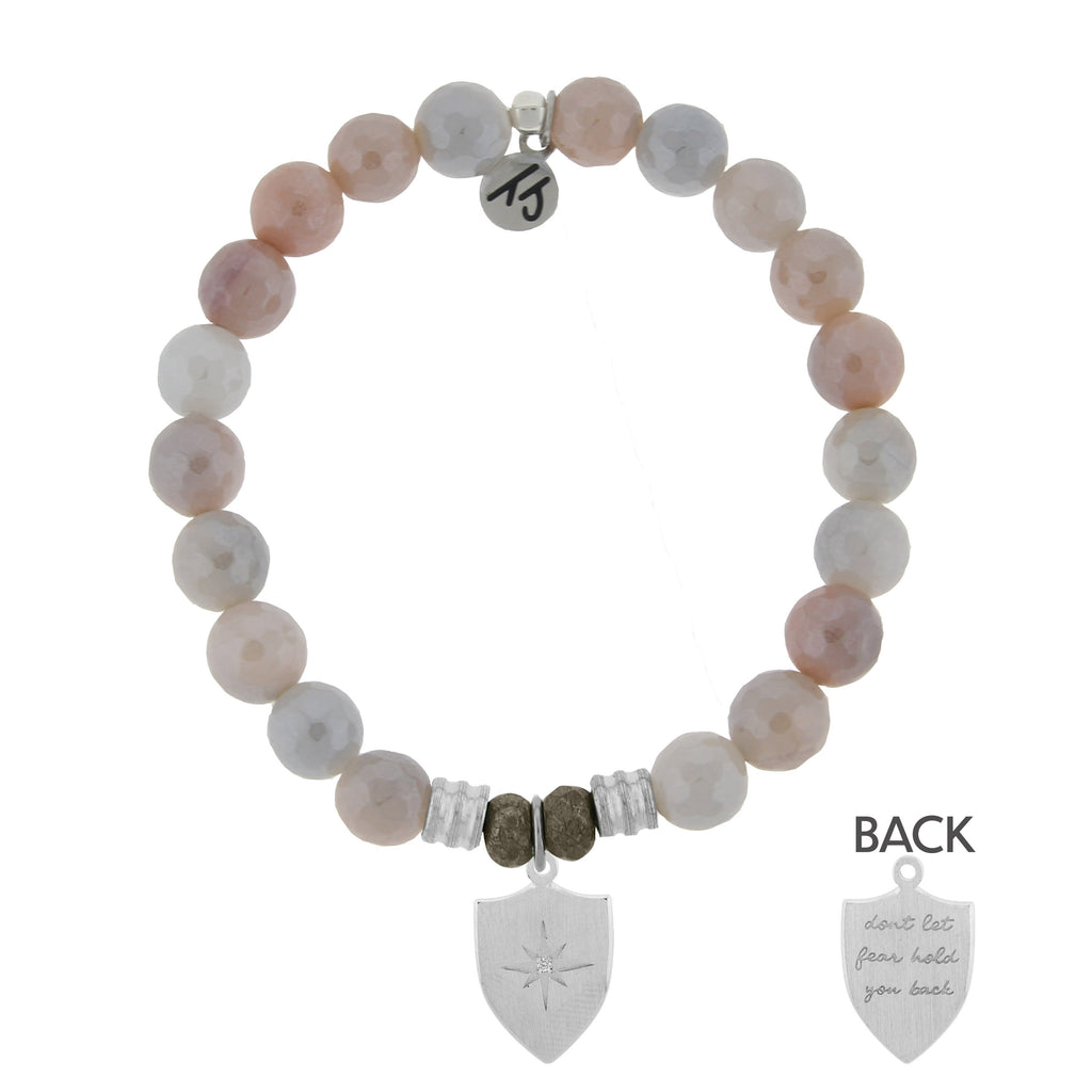 Sunstone Stone Bracelet with Shield of Strength Sterling Silver Charm