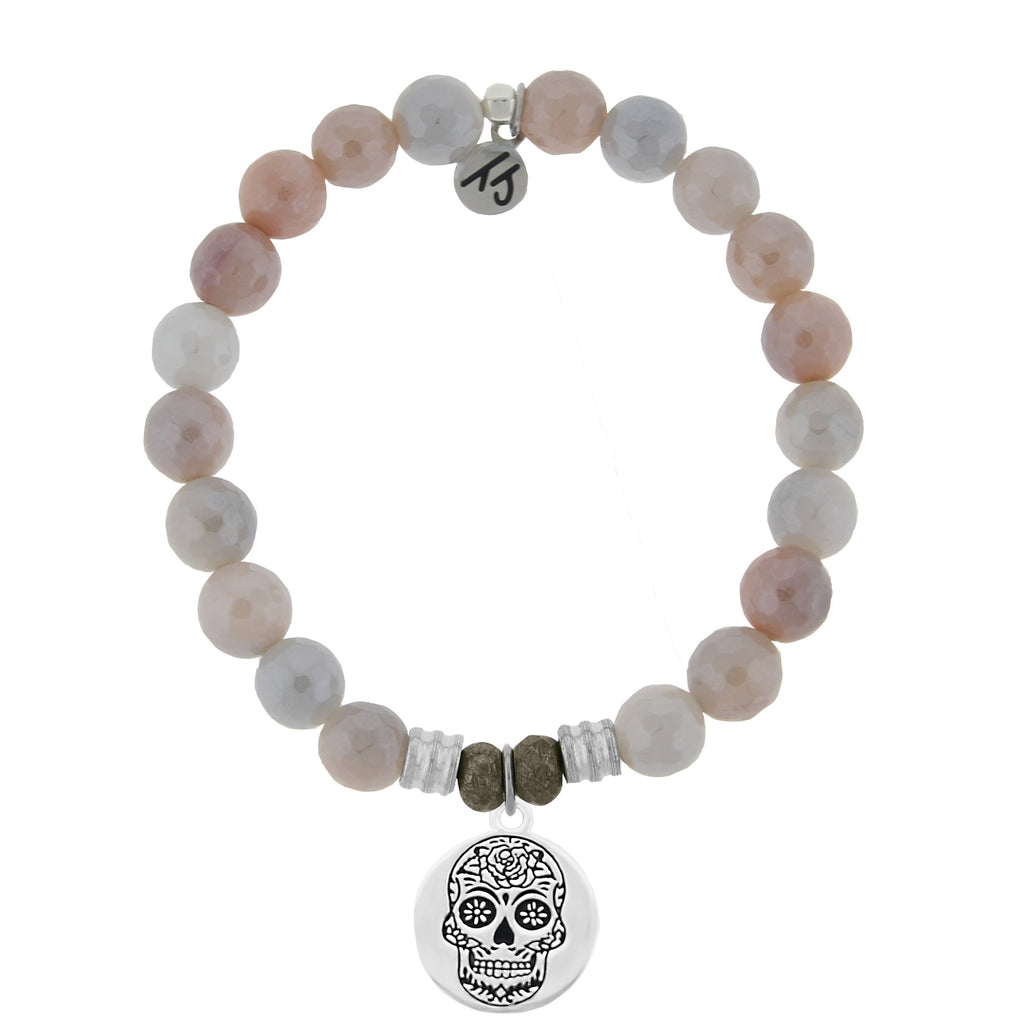 Sunstone Stone Bracelet with Sugar Skull Sterling Silver Charm