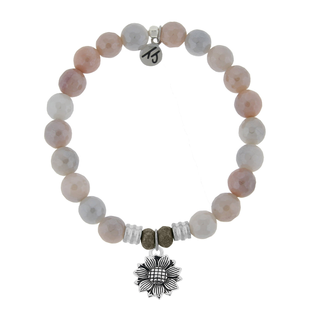 Sunstone Stone Bracelet with Sunflower Sterling Silver Charm