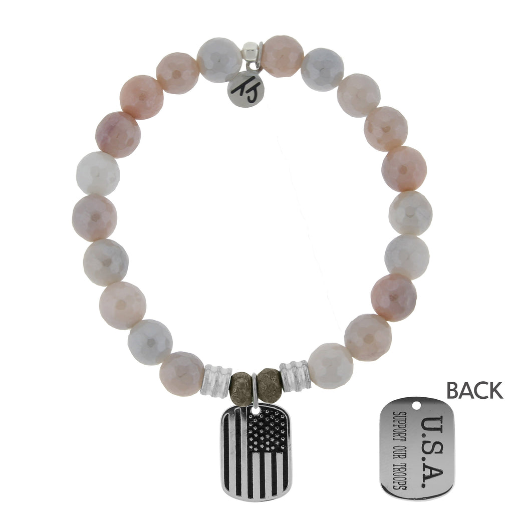 Sunstone Stone Bracelet with Support Our Troops Sterling Silver Charm