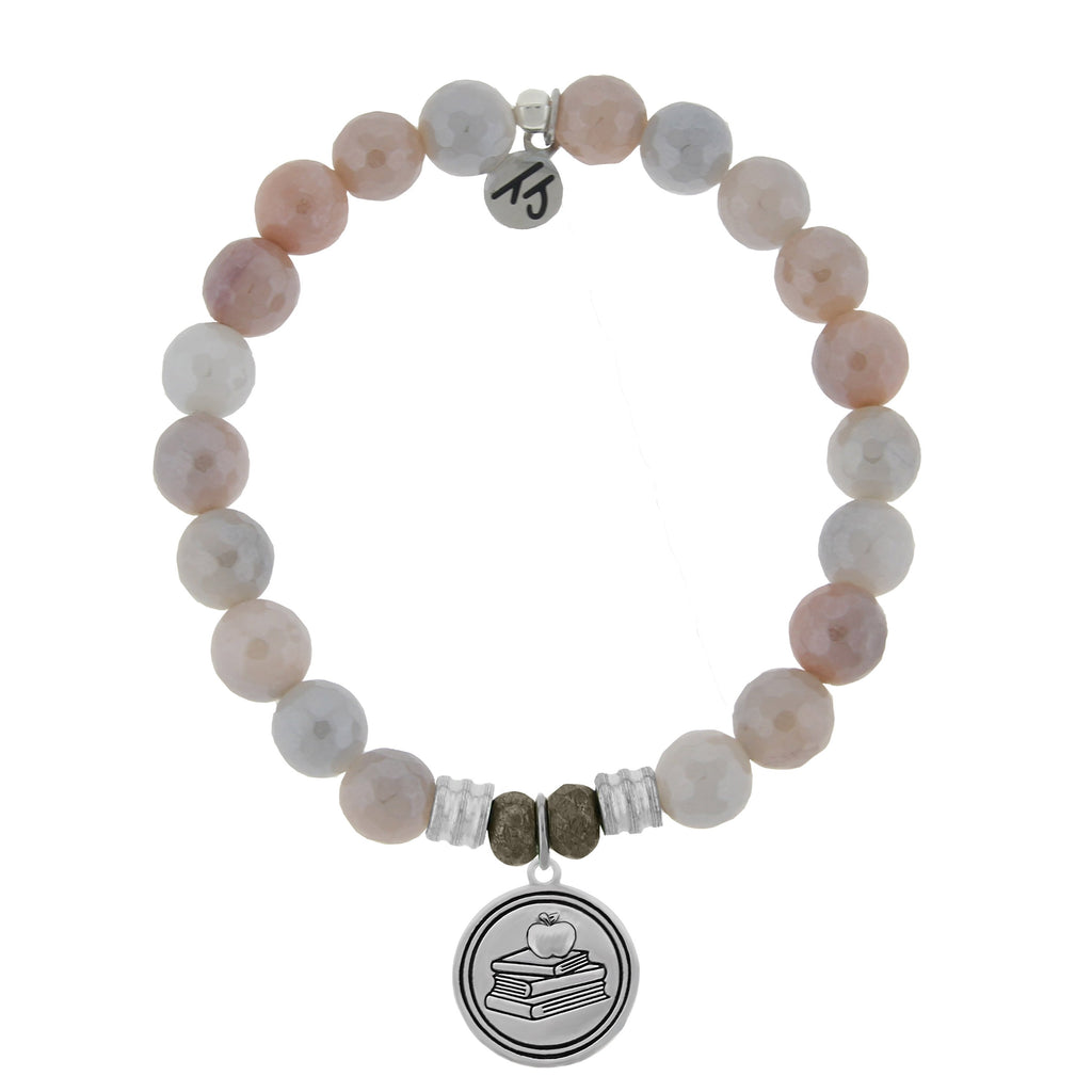 Sunstone Stone Bracelet with Teacher Sterling Silver Charm