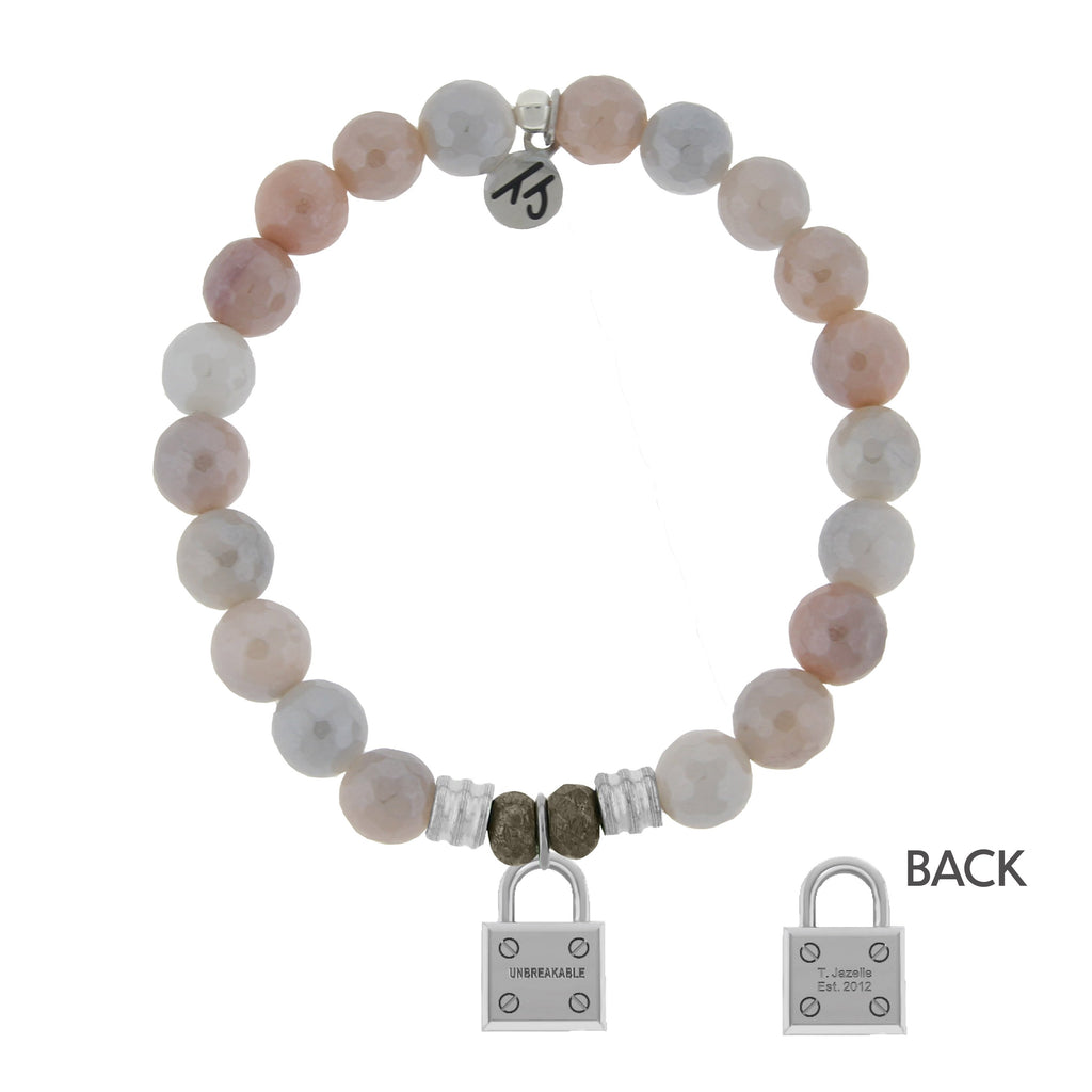 Sunstone Stone Bracelet with Unbreakable Sterling Silver Charm
