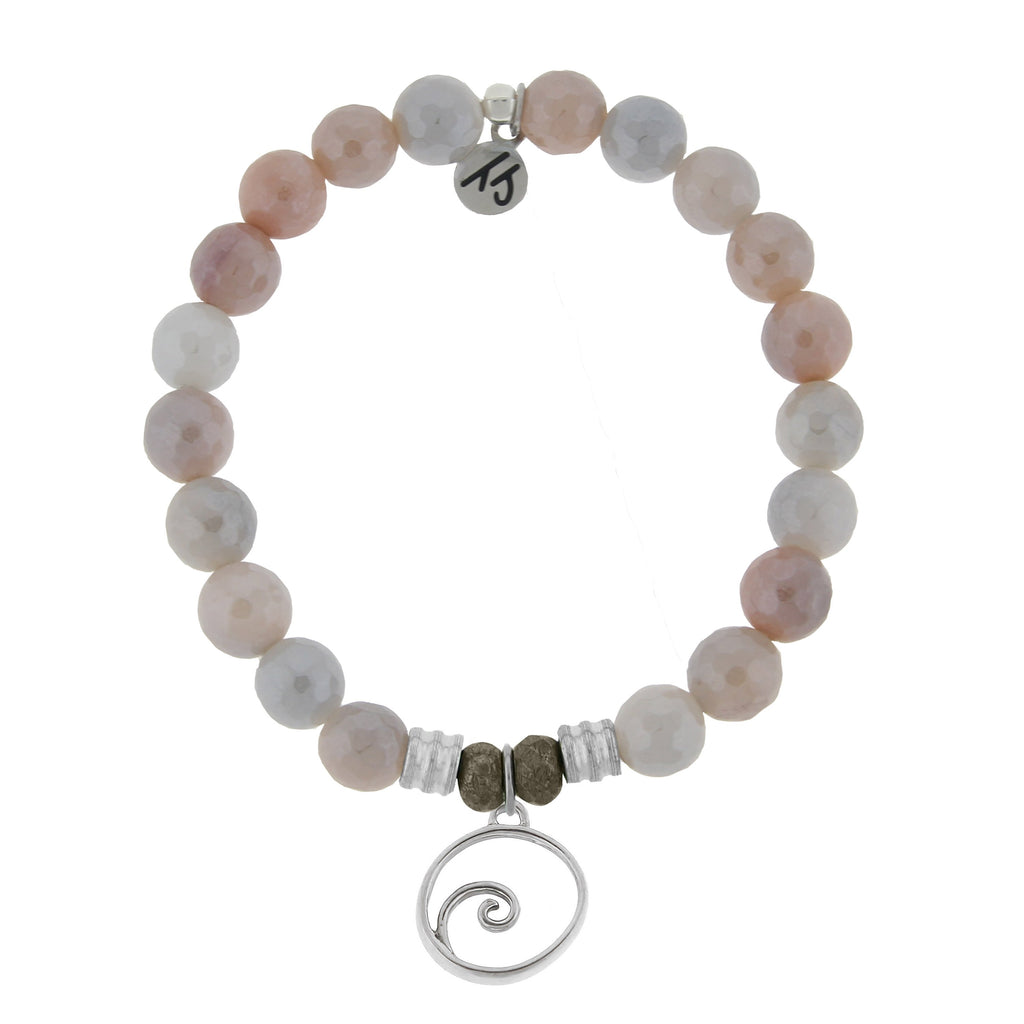 Sunstone Stone Bracelet with Wave Sterling Silver Charm