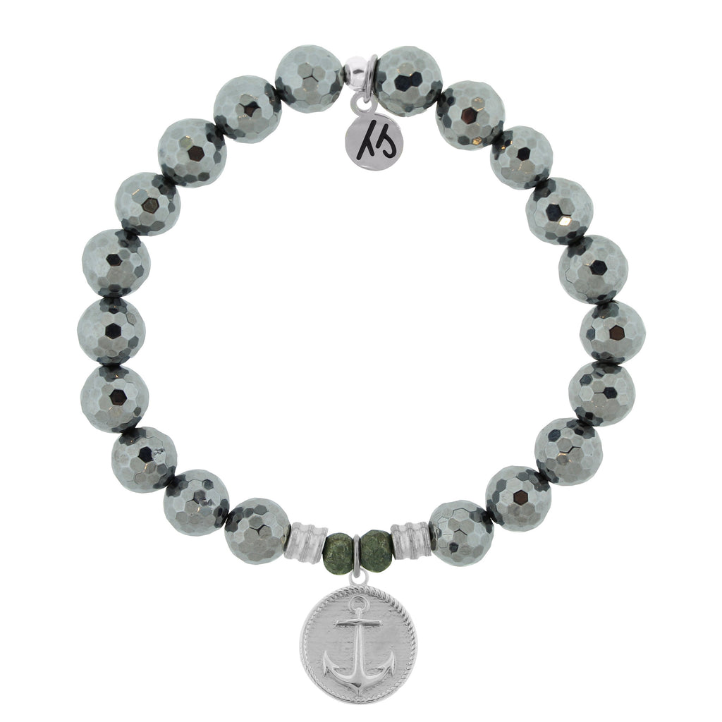 Terahertz Stone Bracelet with Anchor Sterling Silver Charm