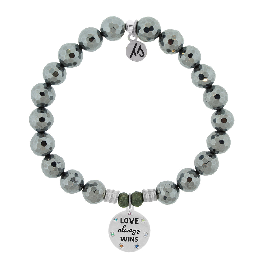 Terahertz Stone Bracelet with Love Always Wins Sterling Silver Charm