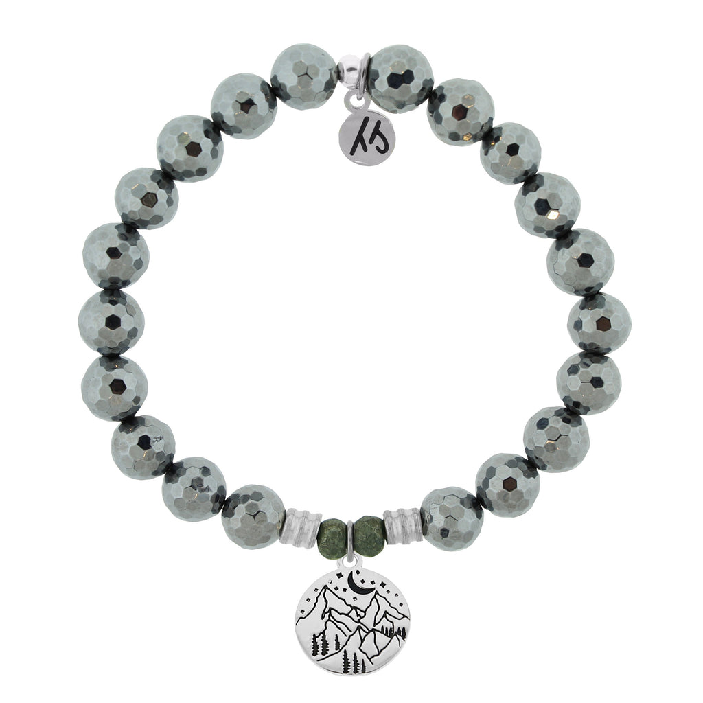 Terahertz Stone Bracelet with Mountain Sterling Silver Charm