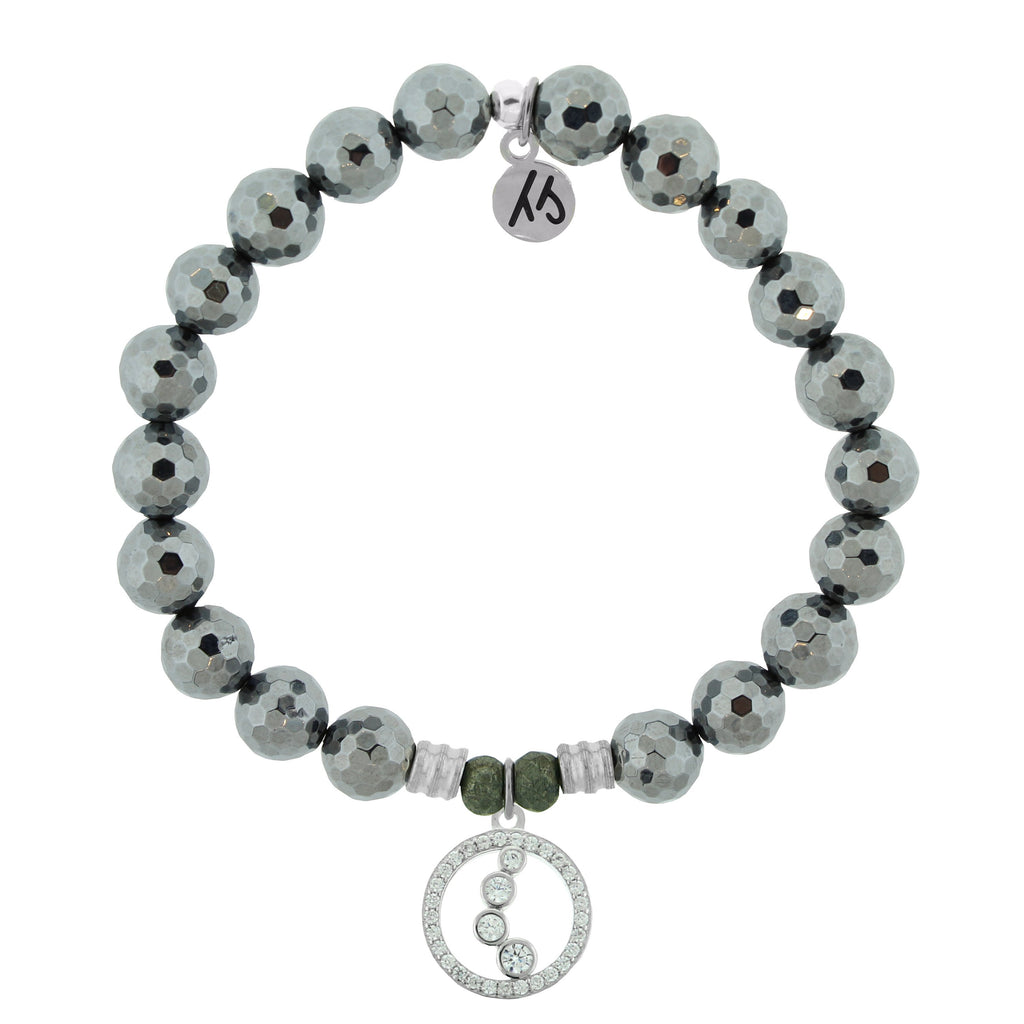 Terahertz Stone Bracelet with One Step at a Time Sterling Silver Charm