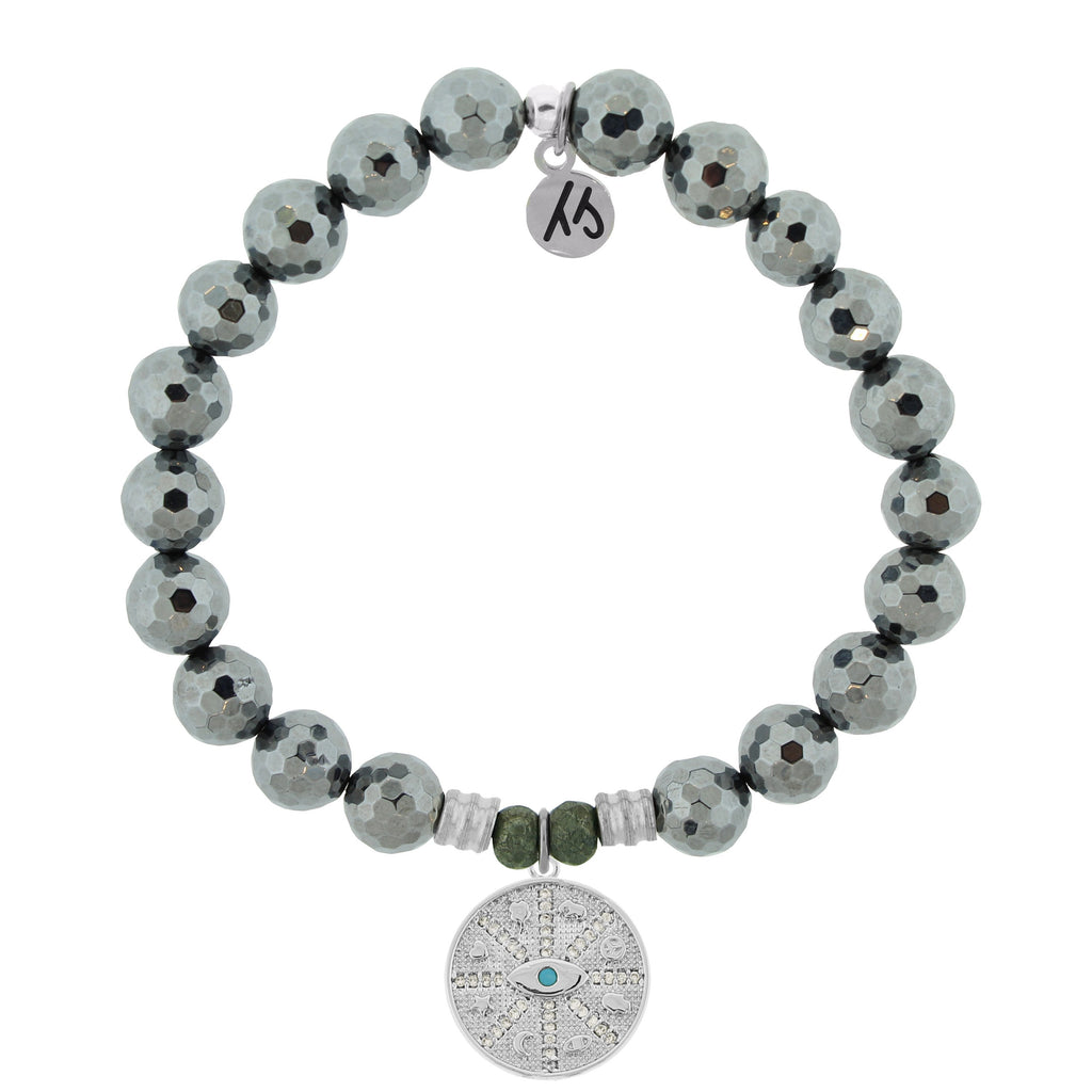 Terahertz Stone Bracelet with Protection Sterling Silver Charm